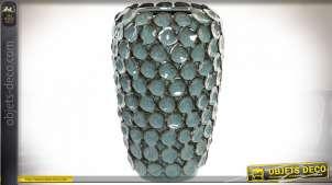 Vase en céramique avec relief, finition bleu turquoise foncé avec des notes de bronze, Ø22cm