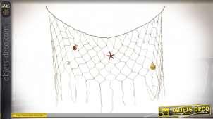 Décoration à suspendre en coton, filet de pêche décoratif avec crustracés en résine, ambiance bord de mer, 100cm