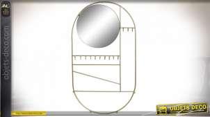 Miroir de salle de bain en métal finition dorée brillante avec crochets pour bijoux ou clés, 50cm