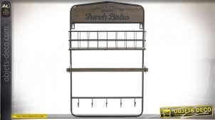 Etagère de cuisine en bois et métal avec casier de rangement, dérouleur de papier et crochets pour les torchons, style vintage, 55cm
