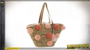 SAC A MAIN SEAGRASS POLYESTER 53X20X30 21600 POMPONS