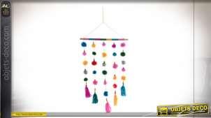 Décoration à suspendre très colorés, pompons montés sur tringle en bois, décoration pour chambre d'enfant, 81cm