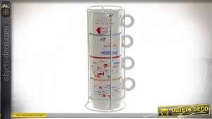 CAFÉ SET 4 GRES MÉTAL 11,5X9X24,5 200 ML. POISSONS