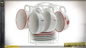CAFÉ SET 6 GRES MÉTAL 24X23X22 180 ML. POISSONS