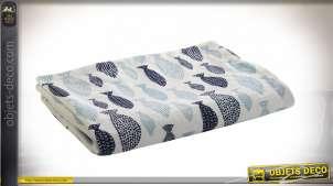 Couverture pour bébé en velours doux, motifs de petits poissons bleus, 100cm