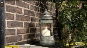Lanterne en métal en forme d'ancienne lampe à pétrole 38 cm
