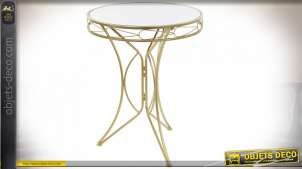 TABLE AUXILIAIRE MÉTAL MIROIR 60,5X60,5X76 DORÉ