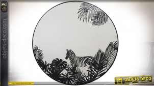 Miroir rond en métal finition noire avec motifs imprimés ambiance tropicalo'chic, Ø40cm