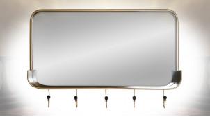 Miroir en métal finition dorée ambiance industriel chic, 92.5cm