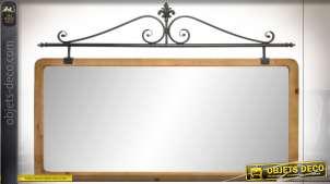Grand miroir horizontale en bois de sapin finition naturelle et en métal esprit vieux fer forgé, 120cm