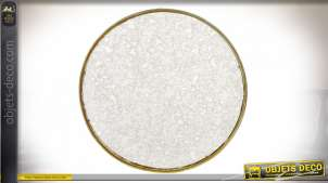 Miroir rond en métal doré avec vitre effet vieille glace, ambiance rétro chic, Ø50cm