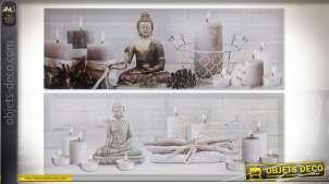 Série de deux tableaux sur le thème de la méditation avec représentation de bouddha, 90cm