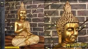 Statuette de Bouddha en résine finition doré brillant et mate, position lotus, 40cm