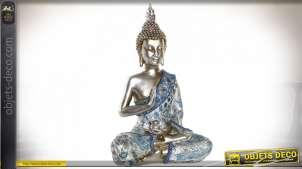 Représentation de bouddha en résine, finition champagne avec tenue de céremonie bleu turquoise, 47cm