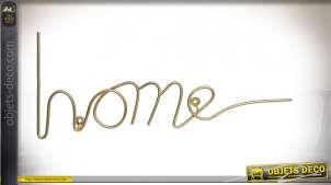 Décoration murale de style moderne en métal doré effet brossé, inscription Home, 48cm