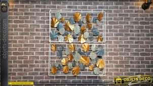 Duo de cadres muraux en métal, fleurs modernes finitions industrielles et relief, 91cm