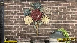 Décoration murale en métal, gros bouquet de fleurs éternelles en finition pastelles, style chaleureux moderne, 84cm