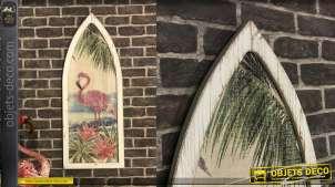 Cadre déco en bois finition usé, image de flamands rose vintage, forme de fenêtre gothique, 101cm