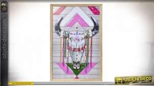 Cadre mural en bois de style boho, rubans et pompons en relief, esprit mexicain 60cm