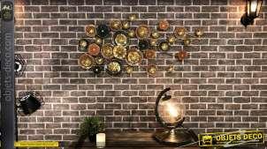 Grande déco murale en métal de style abstrait, couleurs brillantes esprit moderne, 135cm