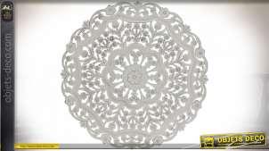 DÉCORATION MURALE BOIS 90X4,5X90 3D BLANC