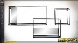 Etagère murale de style contemporain épuré, en métal noir et miroirs rectangulaires, 3 casiers, 62cm