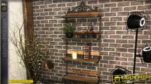 Grande étagère murale de 4 niveaux, bois aspect naturel et métal esprit fer forgé