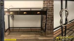 Console en métal de style industriel chic avec pieds noués, finition noire, anthracite et dorée