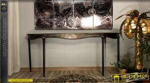 Grande console moderne en métal finition noire mate, esprit baroque avec touches dorées, 196cm
