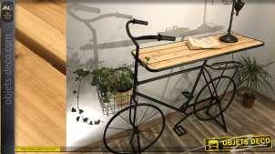 Console originale en forme de vélo avec plateau en bois de pin finition naturelle et structure noire mate, 170cm