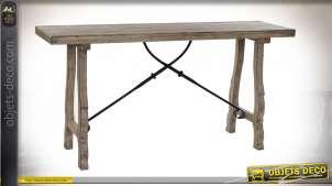 Console en bois de style rustique, esprit chalet forestier en bois finition usé, 160cm