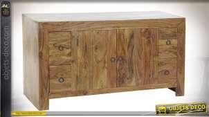 Meuble d'appoint en bois d'acacia massif, richement veiné et texturé finition naturelle, 2 portes et 4 tiroirs, 110cm