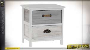 COMMODE PAULOWNIA 40X29X41 DÉCAPAGE GRIS