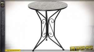 TABLE FER FORGÉ CÉRAMIQUE 61X61X71 CARRELAGE