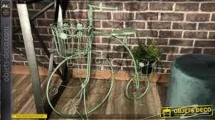 Support pour plantes en forme de vélo à trois roues, finition vert antique 70cm
