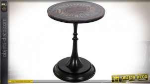 Table ronde d'appoint en métal et revêtement vinyle imprimé de motifs garage vintage, style industriel, Ø60cm