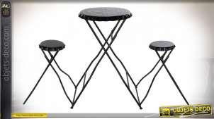 TABLE SET 2 MÉTAL 188X52X107 NOIR