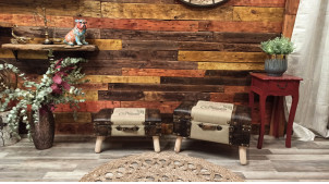 Série de deux pouf/coffres de rangement sur pieds, style malle de voyage vintage, en bois et lin, 60cm