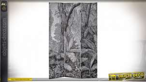Grand paravent en bois et toile imprimée de motifs jungle en noir et blanc, 180cm de long