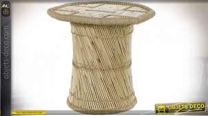 TABLE AUXILIAIRE BAMBOU CORDE 68X68X69 NATUREL