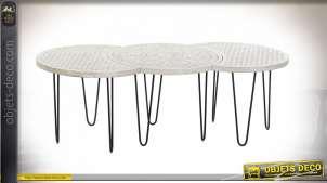 TABLE BASSE SET 3 MANGUE MÉTAL 135X61X46 DÉCAPAGE