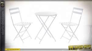 TABLE SET 3 METAL 60X60X70 PLIABLE BLANC