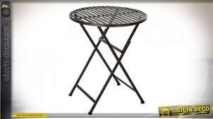 TABLE MÉTAL 60X60X73 PLIABLE NOIR