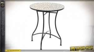 TABLE FER FORGÉ PIERRE 60X60X72 MOSAIQUE