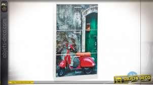 MEUBLE CHAUSSURES BOIS 60X24X115 MOTO BLANC
