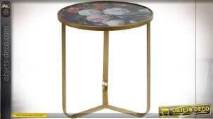 TABLE AUXILIAIRE FER 45X45X50 45 HYPERFLORAL NOIR