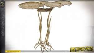 TABLE AUXILIAIRE MÉTAL 90X58,5X83 NÉNUPHARS DORÉ