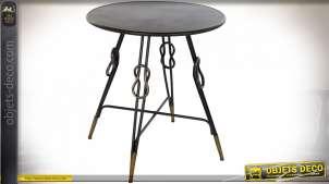 TABLE AUXILIAIRE MÉTAL 70X70X75 NOEUD VIEILLI NOIR