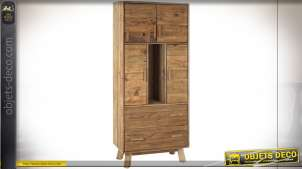 VITRINE BOIS RECYCLE PIN 80X40X190 PORTÉ NATUREL