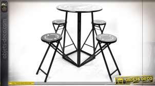 TABLE AUXILIAIRE SET 4 MÉTAL 176X60X102 TABOURET